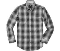 Herren Hemd Slim Fit Baumwolle grau-schwarz