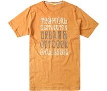 Herren T-Shirt Baumwolle orange gemustert