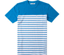 Herren T-Shirt Modern Fit Baumwoll-Piqué capri-weiß gestreift