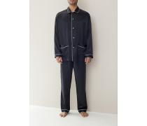 Herren Schlafanzug 'Silk Nightwear' Pyjama Seide kohle oder nachtblau schwarz,blau,weiß