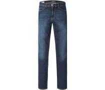 Herren Jeans Straight Fit Baumwoll-Stretch dunkelblau