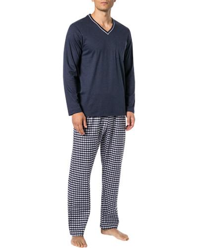 Schlafanzug Pyjama, Baumwolle, marine-hell kariert