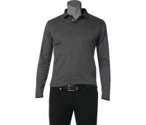 Herren Polo-Shirt Baumwoll-Jersey schwarz-grau gepunktet