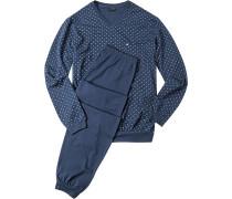 Herren Schlafanzug Pyjama Baumwolle navy gemustert blau