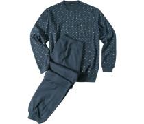 Herren Schlafanzug Pyjama Baumwolle petrol gemustert blau