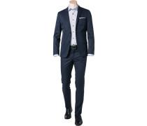 Herren Anzug Fitted Baumwolle navy blau