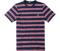 Herren T-Shirt Baumwolle marine-rot gestreift blau