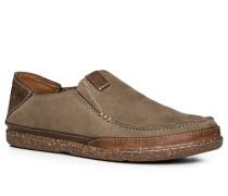 Herren Schuhe Slipper, Nubukleder, olivgrün