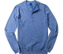Herren Pullover Modern Fit Baumwolle bleu