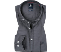 Herren Hemd, Modern Fit, Baumwolle, grau meliert