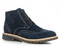 Herren Schuhe Schnürstiefeletten, Veloursleder, marineblau