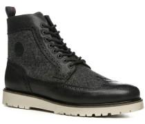 Herren Schuhe Stiefeletten Leder-Wolle schwarz