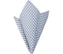 Herren Accessoires Einstecktuch, Baumwolle, blau-weiß gemustert