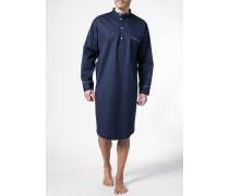 Herren Nachthemd, Baumwolle, nachtblau-weiß gepunktet