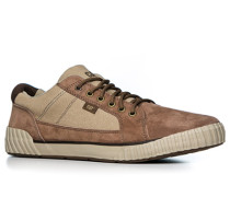 Herren Schuhe Sneaker, Leder-Canvas, camel-braun