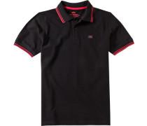 Herren Polo-Shirt Baumwoll-Piqué schwarz-rot