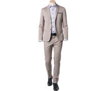 Herren Anzug, Fitted, Baumwolle, beige