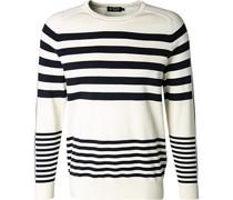 Pullover Baumwolle creme-nacht gestreift