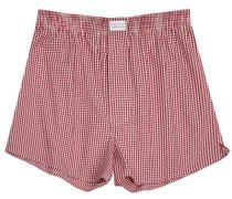 Herren Unterwäsche Boxer-Shorts Popeline bordeaux-weiß kariert