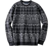 Herren Pullover Lammwoll-Mix nachtblau-grau gemustert