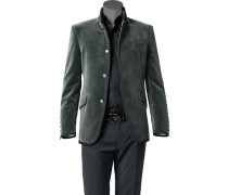 Herren Samt-Sakko Baumwolle dunkelgrün