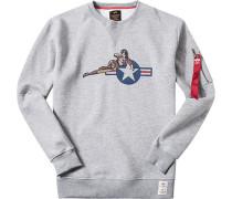 Herren Sweatshirt Baumwolle hellgrau meliert Grau