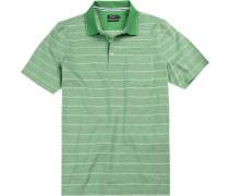 Herren Polo-Shirt Baumwoll-Pique -weiß gestreift