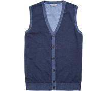 Herren Pullover Strickweste Baumwolle indigo meliert blau