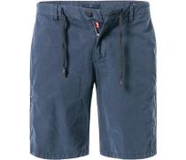 Herren Hose Shorts, Modern Fit, Baumwolle, navy blau