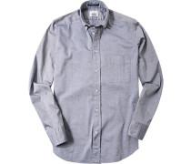 Herren Hemd Regular Fit Baumwolle navy-weiß meliert blau