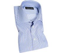 Herren Hemd Slim Fit Popeline blau-weiß gestreift