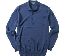 Herren Pullover Merinowolle blau meliert