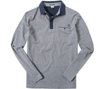 Herren Polo-Shirt Baumwoll-Jersey grau-blau gemustert