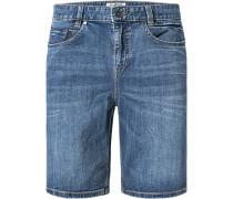 Herren Jeansshorts Slim Fit Baumwoll-Stretch blau