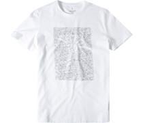 Herren T-Shirt Modern Fit Baumwolle weiß