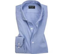 Herren Hemd, Slim Fit, Baumwolle, blau