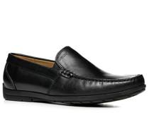 Herren Schuhe Mokassins Leder schwarz schwarz,beige