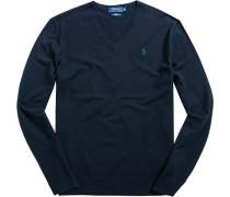 Herren Pullover Slim Fit Woll-Mix dunkelblau