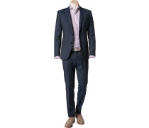 Herren Anzug, Slim Fit, Schurwolle, navy-schwarz meliert blau