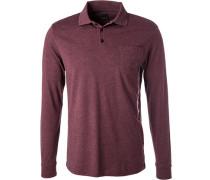 Herren Polo-Shirt, Regular Fit, Baumwolle, bordeaux meliert rot