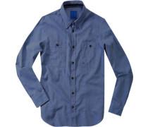 Herren Hemd 'Skippy' Slim Fit Baumwolle blau