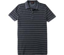 Herren Polo-Shirt, Baumwoll-Piqué, grau gestreift