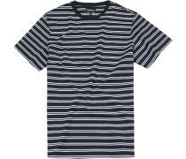 Herren T-Shirt Baumwolle marine-weiß gestreift blau