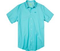 Herren Hemd, Big&Tall, Baumwolle, türkis meliert blau