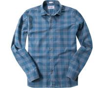 Herren Hemd Modern Fit Popeline petrol kariert blau,grau