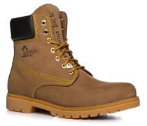 Herren Schuhe Schnürstiefeletten Nubukleder warm gefüttert haselnuss braun,weiß