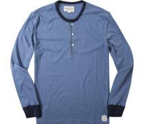 Herren T-Shirt Longsleeve Baumwolle himmelblau meliert