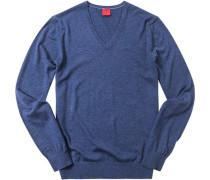Herren Pullover, Casual Body Fit, Schurwolle-Seide, royal meliert blau