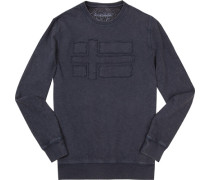 Herren Sweatshirt Baumwolle dunkelblau meliert