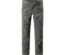 Herren Jeans Slim Fit Baumwoll-Stretch graugrün